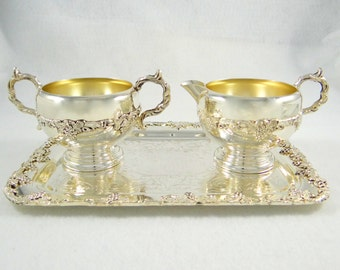 Vintage Old English Reproduction Sugar and Creamer Set with Tray by Lipman Brothers of Canada
