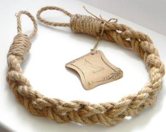 Jute Rope Curtain Tiebacks - Chunky Braided-Pigtail of three ropes - Nautical Curtain Tie Backs