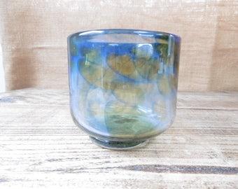 Small vintage mottled Art glass vase