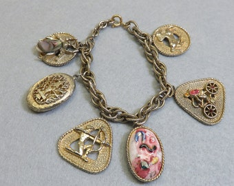 1960s BIG Rhinestone and Porcelain Charm Bracelet 8.5 Inches Long