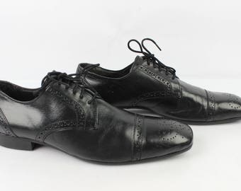 VINTAGE Derby BALMAIN all leather black Uk 7.5 / 41 very good condition Fr (1781)