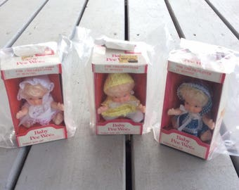 Set of Three Vintage Baby Pee Wee Dolls by Uneeda Doll Company In Original Packaging Sold by Sears ~ So Very Sweet