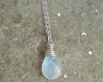 Rainbow Moonstone Necklace, Solid Sterling Silver Rainbow Moonstone Pendant Necklace, June Birthstone