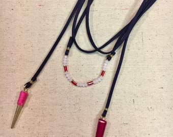 Pink Beaded/Fabric-Wrapped Navy Blue Wrap Necklace
