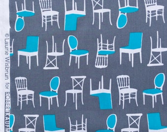 Perfectly Perched chairs gray Laurie Wisbrun Robert Kaufman fabric FQ or more