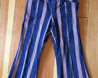 1960's Boys Denim Bellbottom Pants Stripes