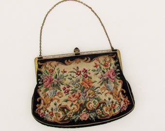 Vintage petit point purse with jeweled frame and clasp, evening bag with formal patterned petit point made in Austria