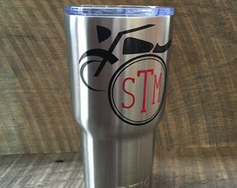 Motorcycle DECAL ONLY with Monogram Initials Tumbler Car Decal Laptop Decal