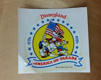 Vintage Disneyland America on Parade - Art-cal Dual Purpose Decal 1976 Unused NOS *eb