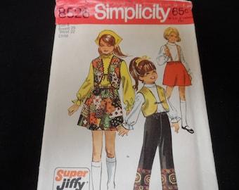 Simplicity 8526 Girls Skirt, Vest, and Pants Pattern Size 6 Vintage 1970
