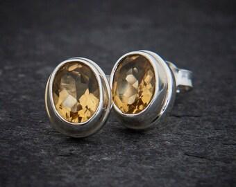 Citrine Stud Earrings, Silver Earrings, Birthstone Jewellery, Gemstone Earrings, Sterling Silver, November Birthday