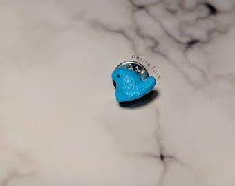 Blue Chick Marshmallow Peeps Lapel Pin / Dollhouse Miniature Food / Handmade / Jewelry / Accessories