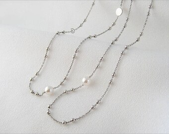 Fine necklace in Silver 925/1000th Crystal bead