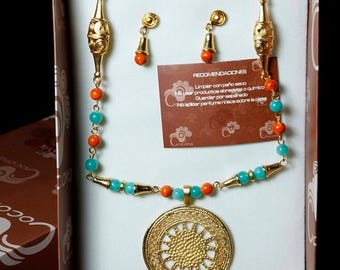 Pre-Colombian Style Jewelry Set - Radiant Sun Disc (1249-20-G08)