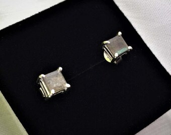 Mesmerizing and beautiful, Square Labradorite Silver Stud Earrings