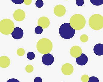 Dot Wall Decals, Polka Dot Stickers, Baby Nursery Dot Wall Pattern, 32 Vinyl Dots -- 3, 4, 6 inches (shown in Navy & Green) (01710d1v)
