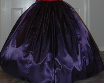 Civil War Reenactment Costume Long SKIRT Most Colors Satin or Cotton 3 or 5 yard Ladies Overskirt (for a hoop) 8 10 12 14 16 18 20 22 24 26
