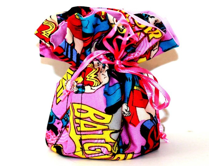 BATGIRL, Wonder Woman, Fabric Jewelry Organizer ~ Pouch ~ Storage Case ~ Bag ~ Tote - Bell Art Designs ~ Medium JBMD0439