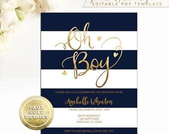 Oh Boy Shower Invitation editable Template, navy stripe, gold, printable INSTANT DOWNLOAD, 5x7 invite, preppy, Modern Vintage DIY A138