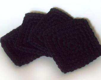 Square Crochet Coasters, Set of 4/Black/Halloween/Classic 1