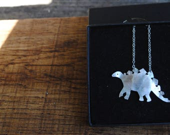 Stunning stegosaurus necklace in recycled silver
