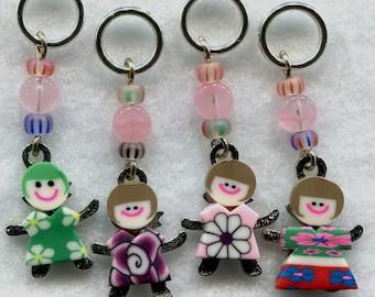 Flower Girls Knitting Stitch Markers No-snag Happy Flower Child Set of 4/SM06
