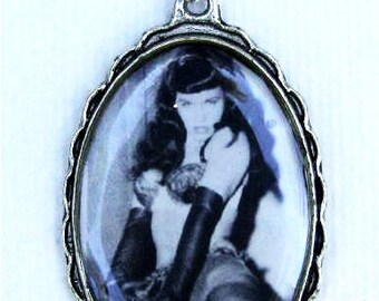 Bettie Page Art Pendant Necklace Unusual Jewelry Handmade Pinup Girl