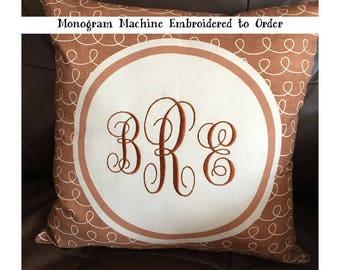 Custom Embroidered Monogram Throw Pillow