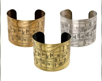 New York Cuff, NYC Cuff, Brass Cuff, Etched Cuff Bracelet, Original Art - MANHATTAN NEIGHBORHOODS - 3 Colors Available