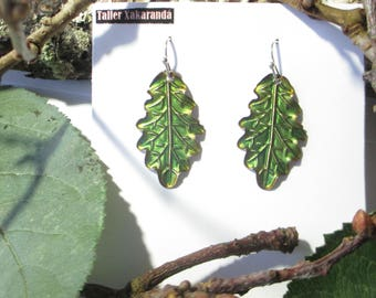 Glazed fire oak leaf earrings