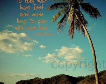 "Quote Giclee Photo Print "" Kahlil Gibran verse"" Ocean Beach Palm Tree"