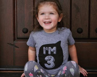 I'm three, birthday tee, kids birthday shirt, third birthday shirt, boys and girls shirt, hipster kids clothing, trendy kids clothes