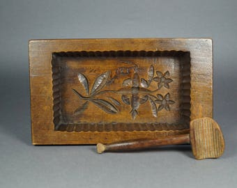 Antique Treen Butter Mold And Scoop Folk Art Farmhouse Kitchen Circa 1890