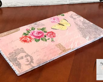 Checkbook cover coupon holder Royal French Floral in pink-ready to ship