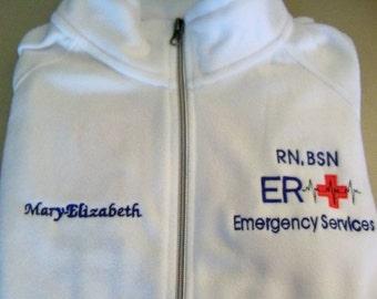 RN, BSN, ER Emergency Services Embroidered Fleece Nurse Jacket