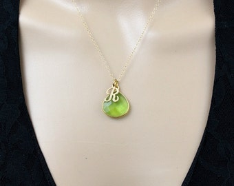 Peridot Necklace, Personalized Necklace, Gold Initial Necklace, Minimalist Necklace, August Birthstone Jewelry, Sterling Silver, Green, gift