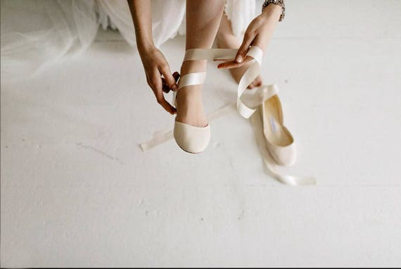 The Bridal Ballet Flats Wedding Shoes with Satin Ribbons