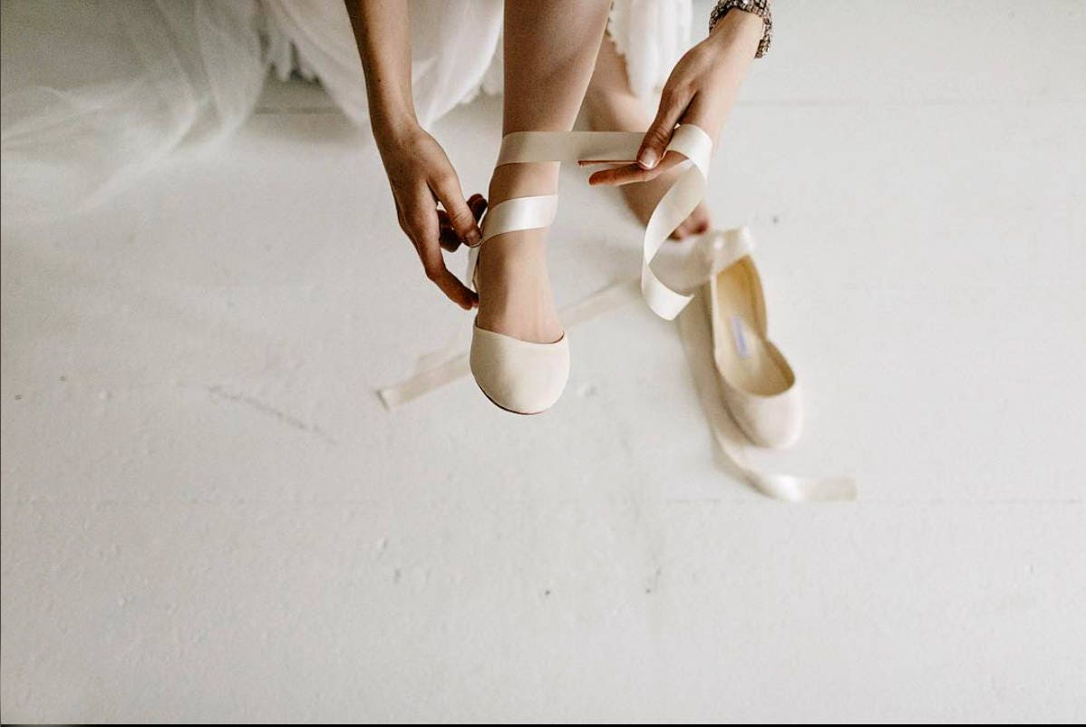 The Wedding Ballet Flats with Satin Ribbons Wedding Shoes