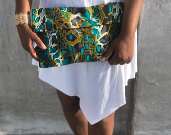 Snake skin print, African print, fold over, clutch, handbag