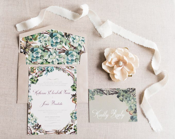 5x7 Green Natural Garden Succulents Branches Wedding Invitation Suite in Beige Cream Ivory Neutral Colors and Green – Custom Envelope Liner