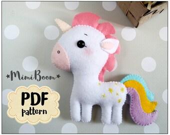 Felt unicorn pattern PDF Unicorn doll sewing pattern Unicorn plushie pattern Felt unicorn doll making pattern Unicorn baby mobile making