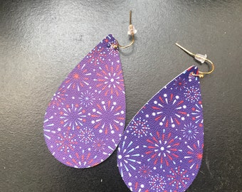 4th of July Leather Earrings