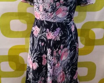 Long vintage dress, anni70, made in Italy, floral dress, free shipping
