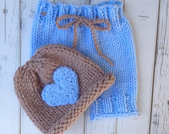 Baby Boy Short Set, Short Pants for Newborns, Baby boy coming home outfit, Newborn photo prop,Baby boy photo prop,Knit hat for infant boy