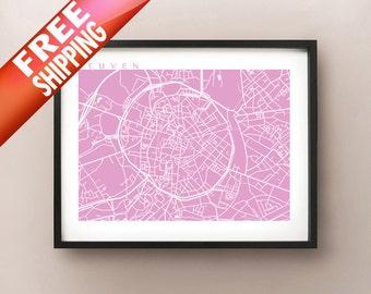 Leuven Map Print - Louvain Belgium Poster