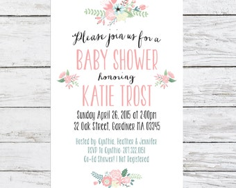Floral Baby Shower Invitation | Customizable Shower Invite | Spring Shower Invitation
