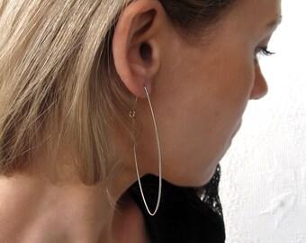 Elegant Narrow Hoops - Sterling Silver Elongated Hoop Earrings - Geometric Long Earrings - Modern Jewelry / Silver Earrings. Unique Earrings