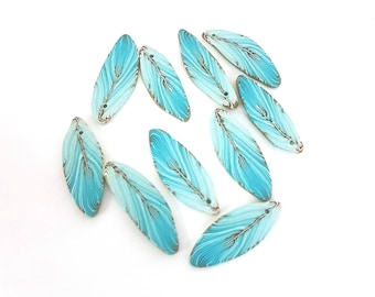 Turquoise Feather Beads, Pale Blue Green Polymer Clay Beads, Minty Bird 10 pieces