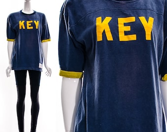 Vintage 50s Navy Blue Marigold Yellow Ringer Tee Sports Jersey Athletic Key Field Goal 25 Oversized Slouchy Soft RARE Medium Large