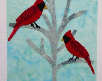 Cardinal Fabric Note Cards
